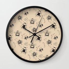Honeybee Pattern Wall Clock