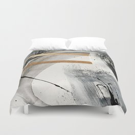 Armor [7]: a bold minimal abstract mixed media piece in gold, black and white Duvet Cover
