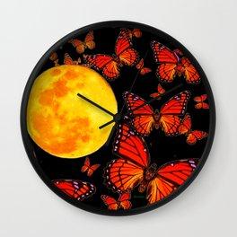 Decorative Full Moon & Monarch Butterflies Art Wall Clock