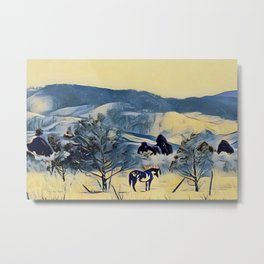 Indian Pony Yellow Winter by CheyAnne Sexton Metal Print