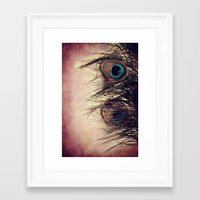 peacock feather Framed Art Prints featuring Peacock Feather by KunstFabrik_StaticMovement Manu Jobst