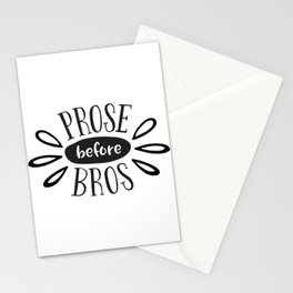 Prose Before Bros - Black On White Stationery Cards