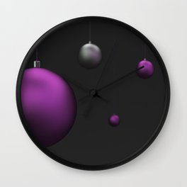 Set of purple and silver christmas balls Wall Clock