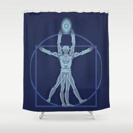 Vitruvian Tron Shower Curtain