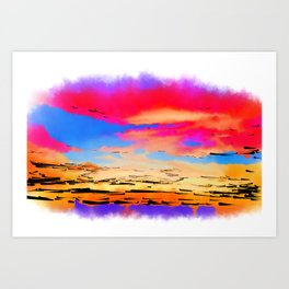 Colorful Abstract Sunset Art Print