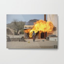 Action scene featuring a fireball explosion at Old Tucson a movie studio and theme park just west of Metal Print