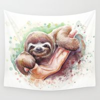 sloth Wall Tapestries featuring Sloth by Olechka