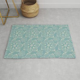 Modern Tropical Floral Pattern in Teal and Beige Rug