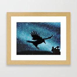 Descent of the Midnight Rook Framed Art Print
