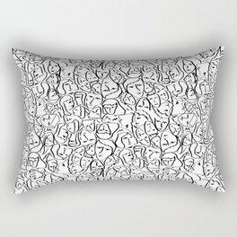 Elio's Shirt Faces in Black Outlines on White Rectangular Pillow
