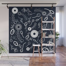 Flowers on navy blue Wall Mural