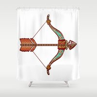 zodiac Shower Curtains featuring Sagittarius Zodiac by Kerstin Schoene