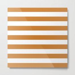 Horizontal Stripes (Bronze/White) Metal Print