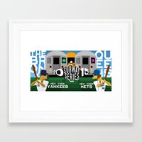 yankees Framed Art Prints featuring Subway Series 2015 by Mountain Top Designs