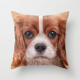 Drawing Cavalier King Charles Spaniel Throw Pillow