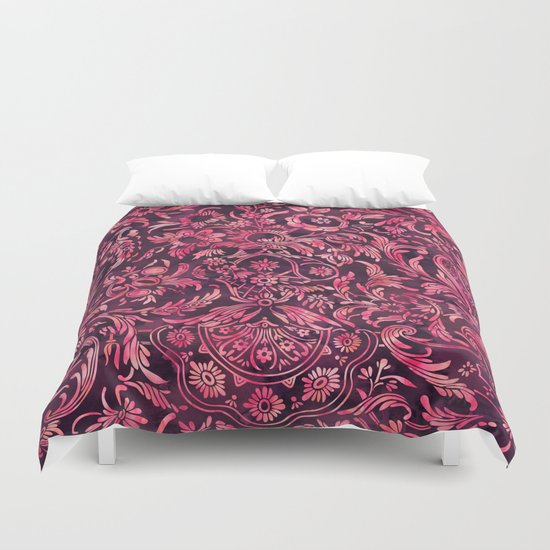 Watercolor Damask Pattern 01 Duvet Cover