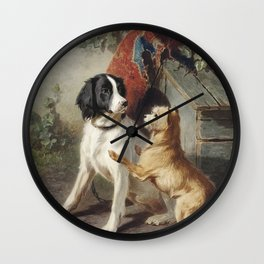 Two dogs by a kennel by Conradijn Cunaeus (1828–1895). Wall Clock
