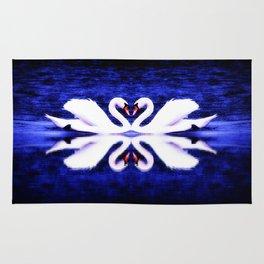 Swans in Love (dark blue-vibrant) Rug