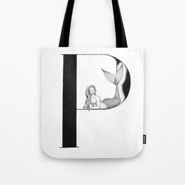 Mermaid Alphabet Series - P Tote Bag