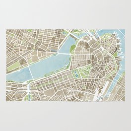 Boston Sepia Watercolor Map Rug