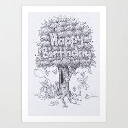 Woodland Series - Happy Birthday Bunny Card Art Print