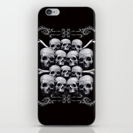 Skulls and Filigree - Black and White iPhone Skin