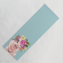 Flower Crown Baby Pig in Blue Yoga Mat