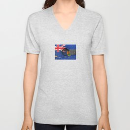 Old Vintage Acoustic Guitar with Turks and Caicos Flag Unisex V-Neck