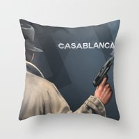 casablanca Throw Pillows featuring Cinema Classics: Casablanca by Raven Krupnow