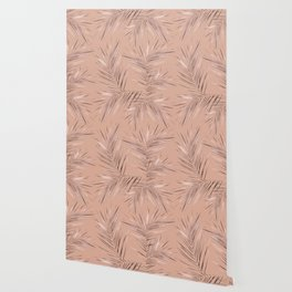 Rose Gold Pink Palm Leaves on Blush II Wallpaper