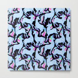 Ultraviolet rainbow unicorns Metal Print