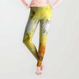 Yellow Abstract Art - Good Vibrations - By Sharon Cummings Leggings