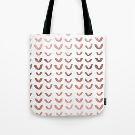 Modern abstract chic faux rose gold v pattern Tote Bag