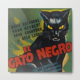 Vintage El Gato Negro Bela Legosi Movie Theater Lobby Poster Metal Print
