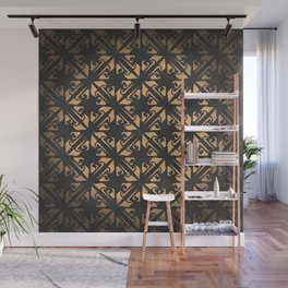 Golden pattern. Floral elements, ornate background. Editable vector file. Wall Mural