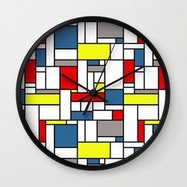 Mondrian style pattern Wall Clock