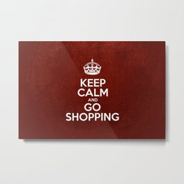 Keep Calm and Go Shopping - Red Leather Metal Print