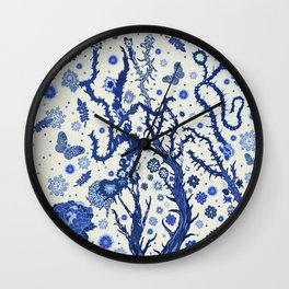 Blue flora Wall Clock