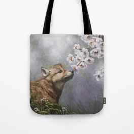 Wolf Pup and Spring Blossoms Tote Bag