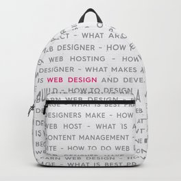 Web Design Words Poster Backpack