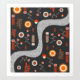 Acorns, flowers and a dotted river Art Print