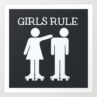 Girls Ruler Roller Derby Art Print