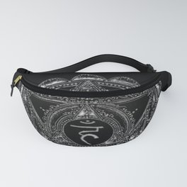 Black and White Throat Chakra Fanny Pack