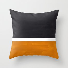 Black Yellow Ochre Rothko Minimalist Mid Century Abstract Color Field Squares Throw Pillow
