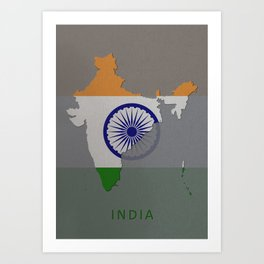 India, Outline, Map Art Print
