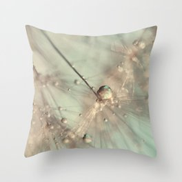 dandelion mint Throw Pillow