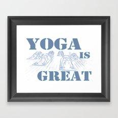 Yoga Is Great : Blues Framed Art Print