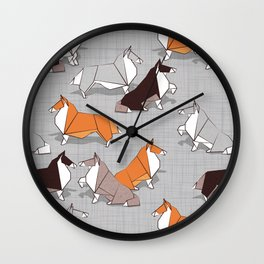 Origami Collie doggie friends Wall Clock