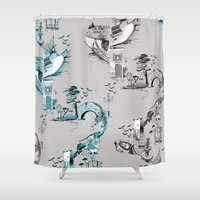 radio Shower Curtains featuring Radio City  by Kate Berry