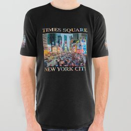 Times Square Tourists (on black) All Over Graphic Tee